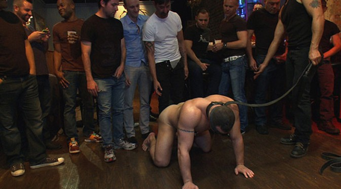 Italian bodybuilder is used and humiliated at a public bar