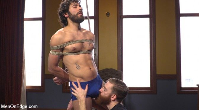 Real-life bike messenger gets tied up at Men On Edge