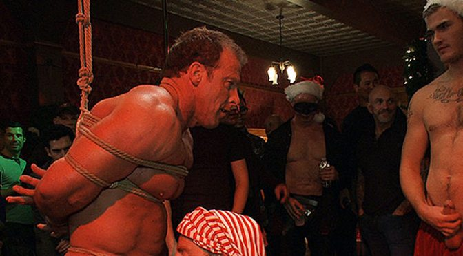 Derek Pain at a bondage Xmas party