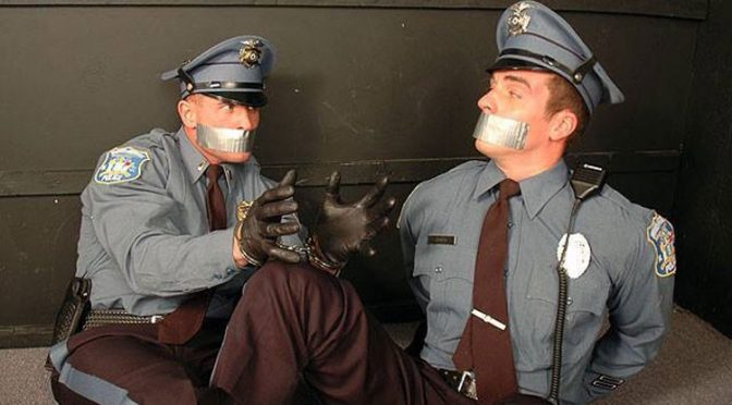 image Gay cop gagged first time breaking and