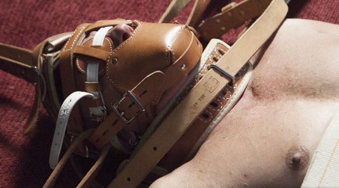Locked into a metal bondage frame with humane restraints