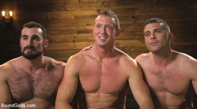A gay bondage three-way with Jaxton Wheeler, Lance Hart and Pierce Hartman