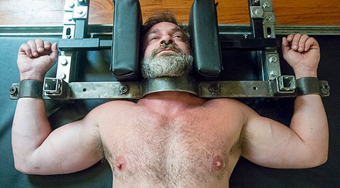 Kristofer Weston in serious metal bondage