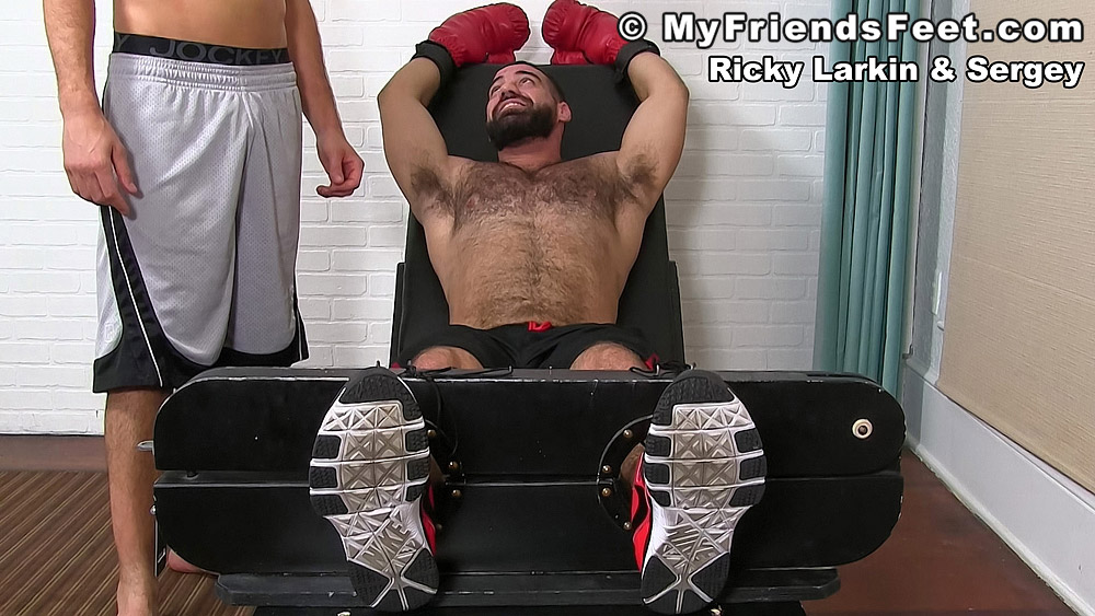 Pictures: Ricky Larkin gets tied up and tickled wearing boxing gloves