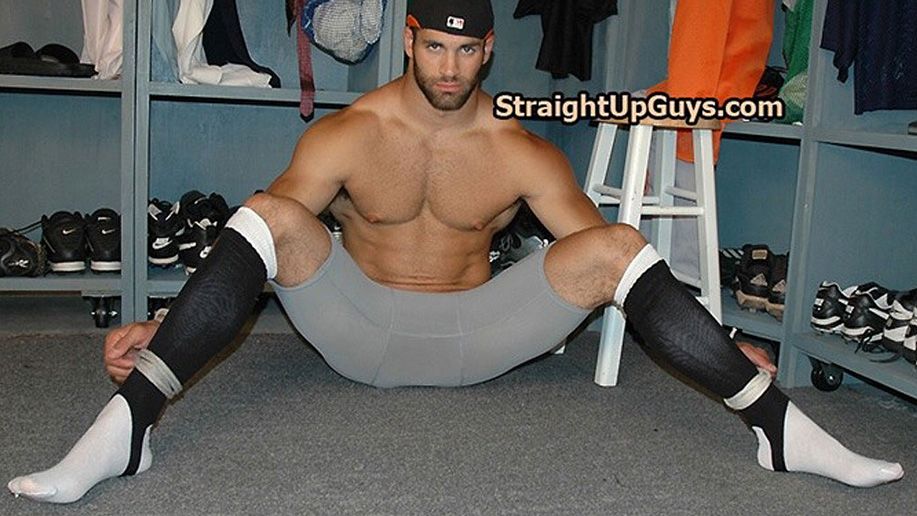Bondage archives: A total stud is tied with his compression shorts pulled down