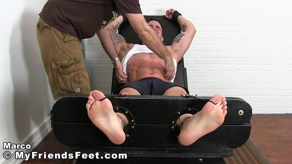 Muscle jock Marco gets restrained then tickled