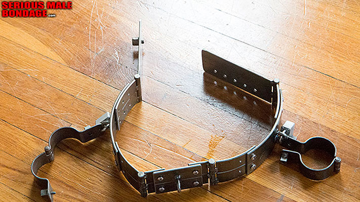 Heavy metal bondage belt and head cage for Kristofer Weston