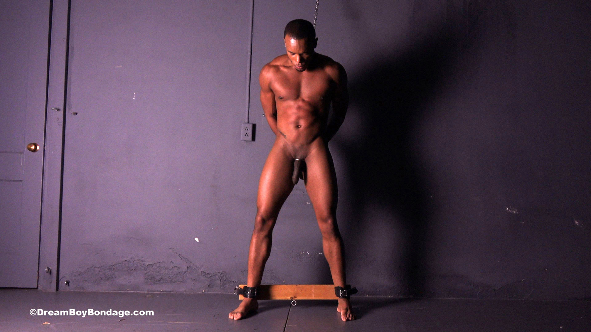 big black muscle stud in bondage