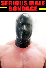 muscle man in rubber hood