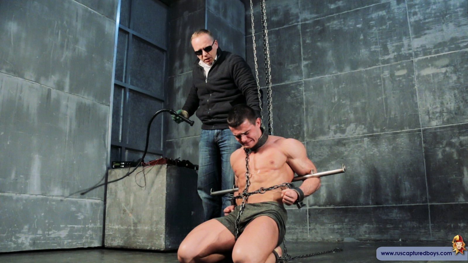 chained up muscle man