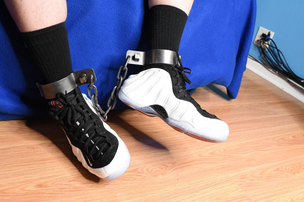 The Sneaker Boy aka Chris Mitchell leg cuffs