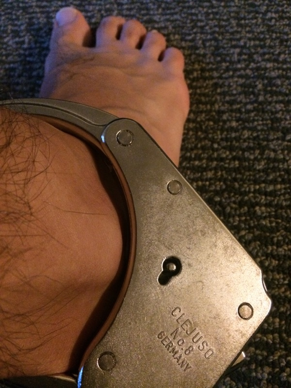 self bondage in legcuffs