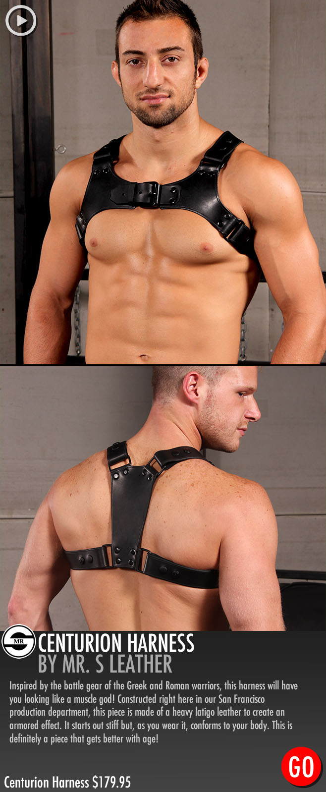 hot guy in a leather harness