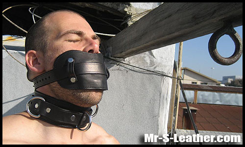 Male BDSM leather bondage