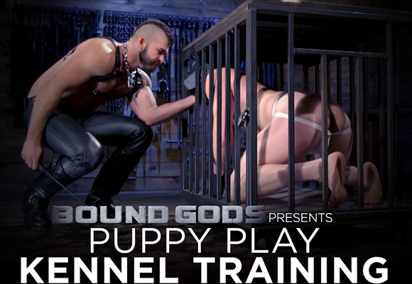 Jonah Fontana lets his dog, Brian Bonds, out of his cage
