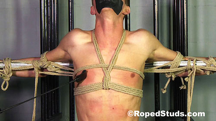 Video: A lean captive is roped, cropped and gagged