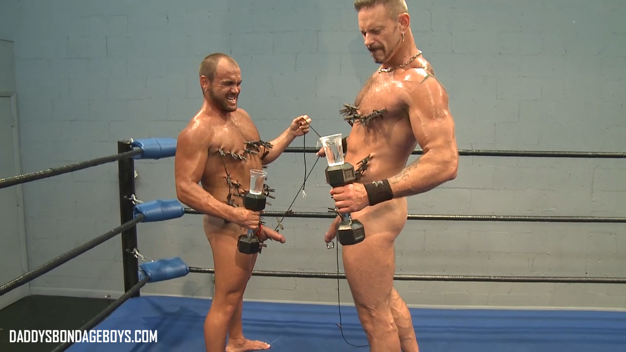 sweaty gym muscle guys Colin Steele and Jessie Balboa