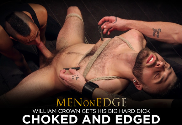William Crown Gets His Big Hard Dick Choked And Edged