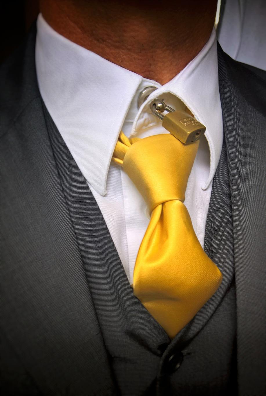 padlocked dress shirt collar and tie