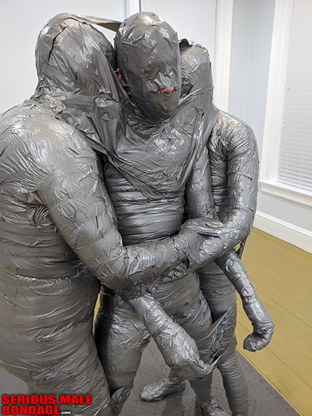 duct tape bondage in an art gallery