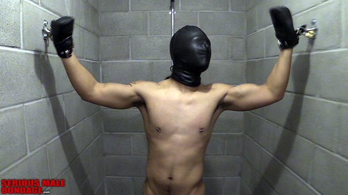 A leather hood, fist mitts and two padlocks