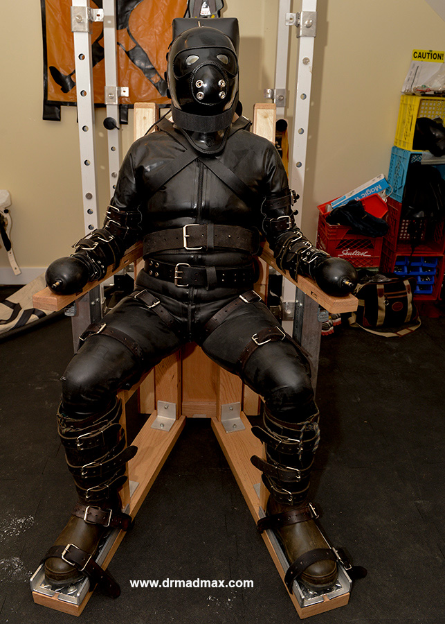 Mad Max Strict chair bondage in heavy restraint gear