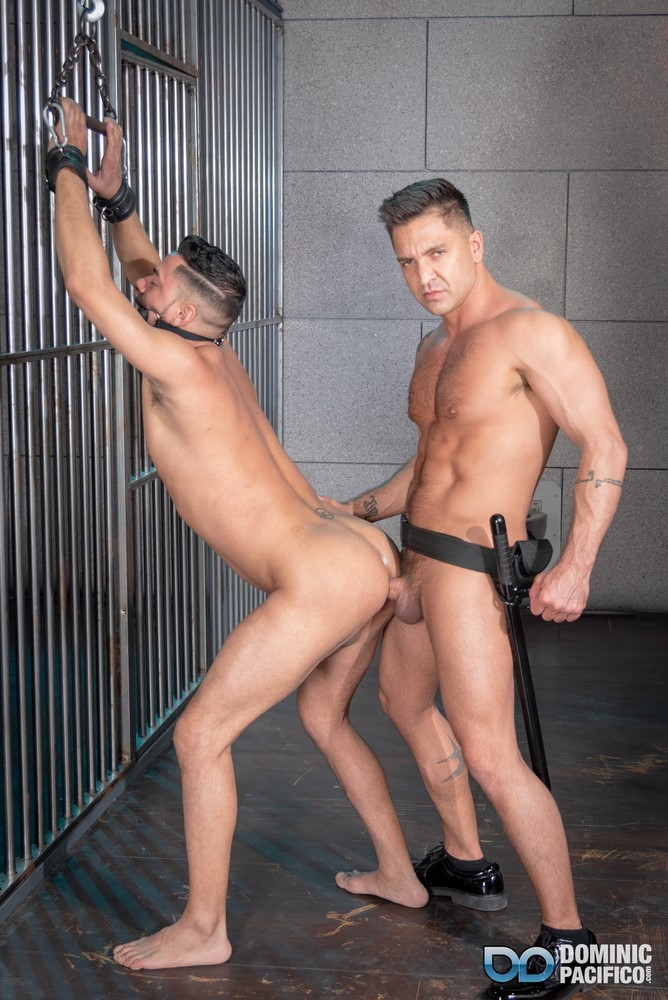Dominic Pacifico dominates Cesar Xes in prison male BDSM porn