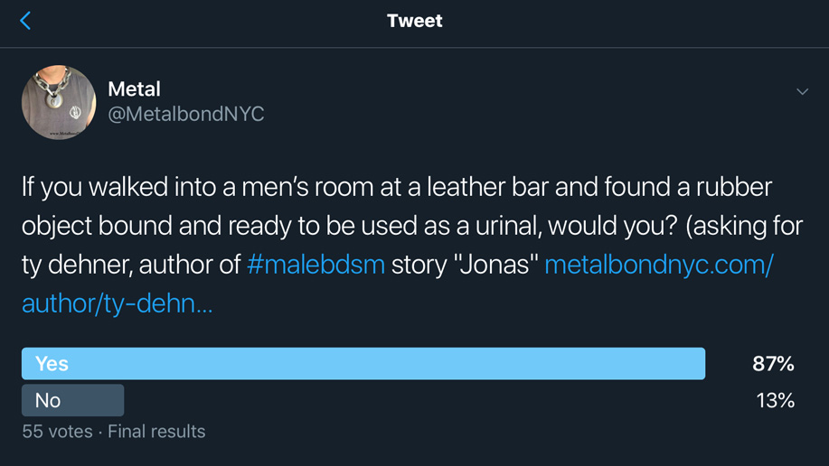 Poll question: Would you use a human urinal bound in the men's room at a leather bar?