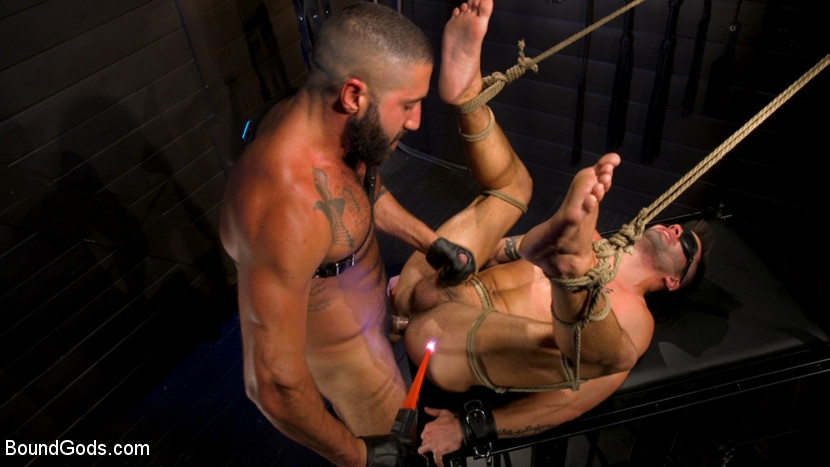 male bdsm Sharok and Casey Everett at Bound Gods tied up