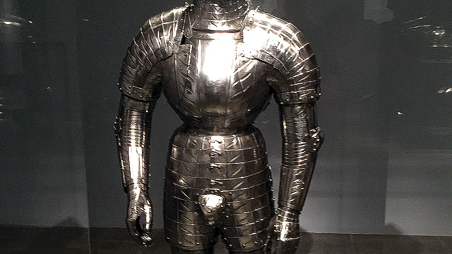 suit of armor with metal codpiece