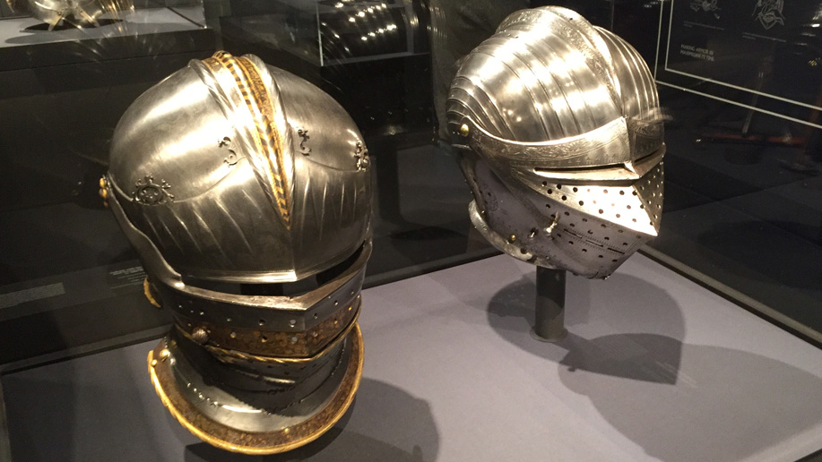 Authentic suit of armor helmets