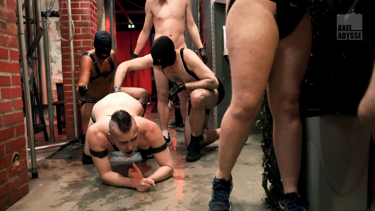 sleazy gay fisting gang bang with piss and cum in face up ass and in mouth