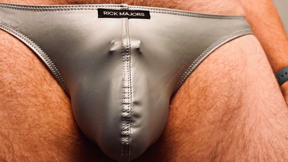 Chastity device bulge in Rick Majors briefs