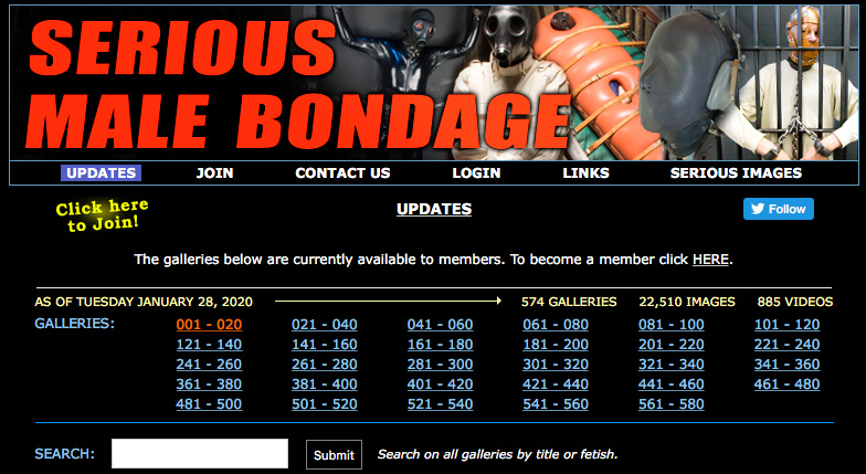 Serious Male Bondage search feature