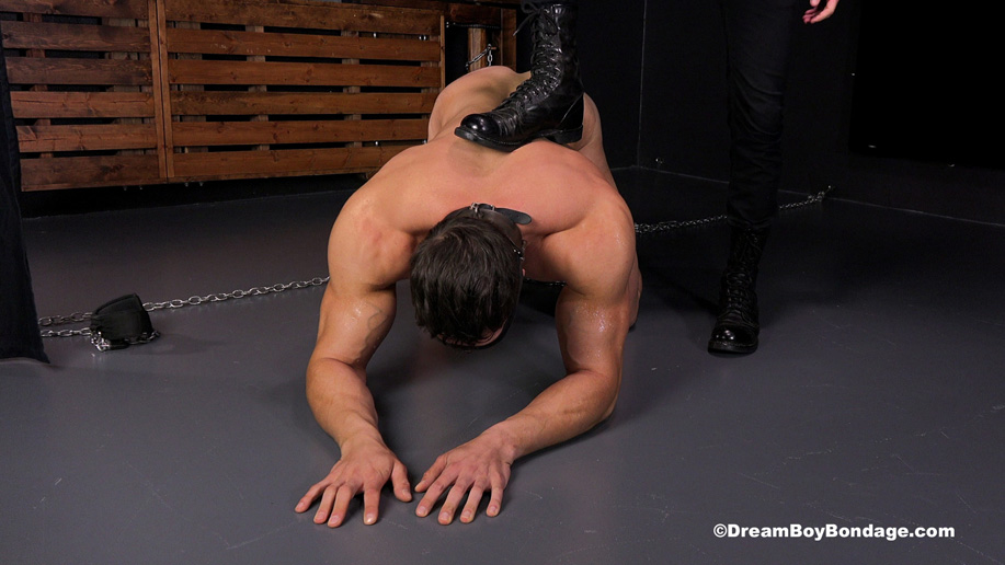 Stefano pumps out a rope of cum while in heavy bondage