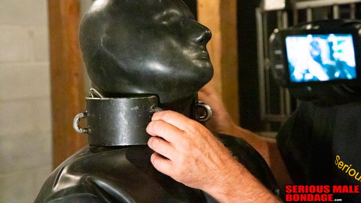 A big metal collar on a big rubber slave