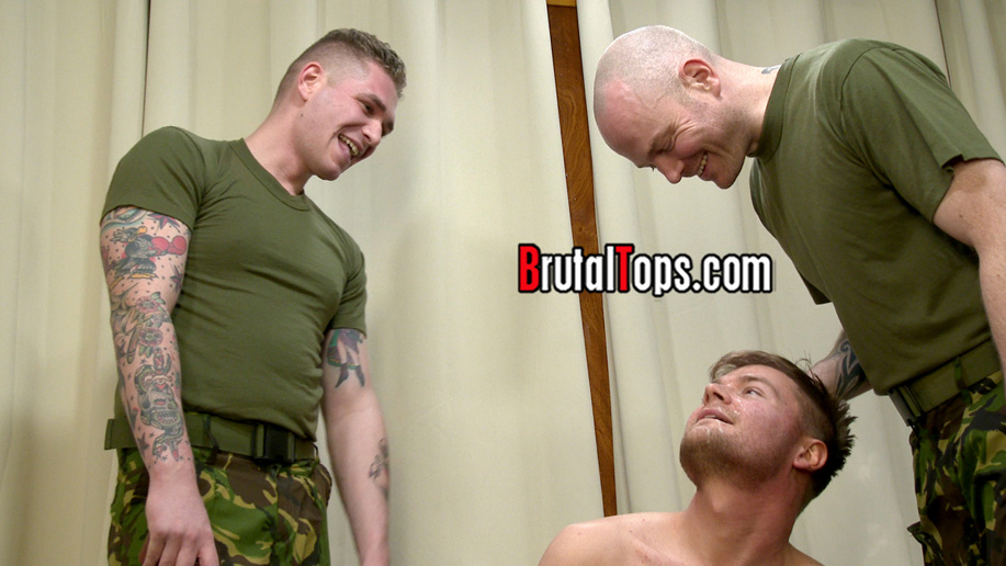 A grunt gets locked in chastity at bondage boot camp