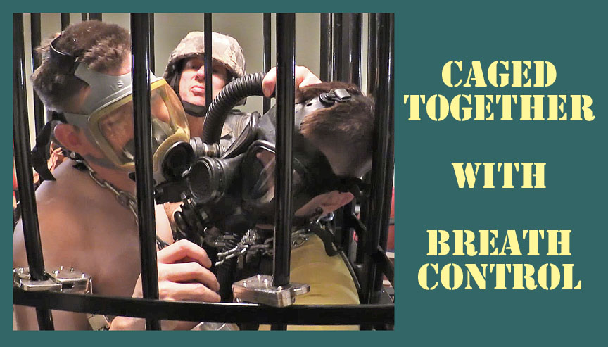 Two men are caged together with gas masks
