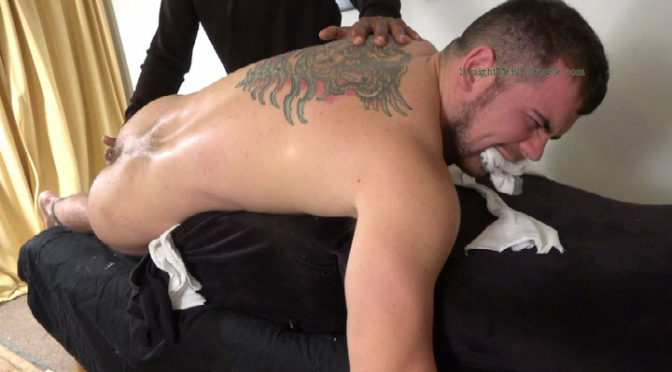 An athlete is tied up and gets his hole invaded