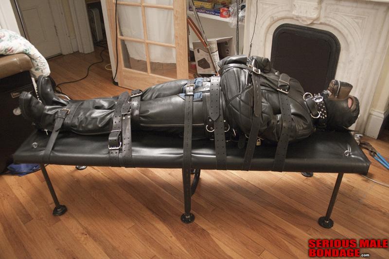 male bondage leather straitjacket