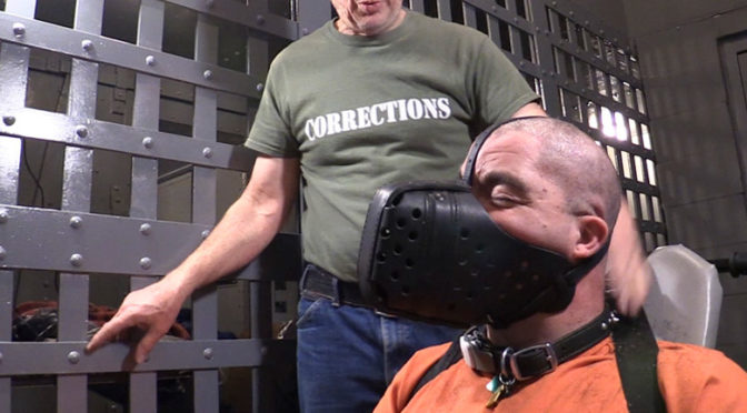 Forced haircut in bondage followed by application of a leather dog muzzle