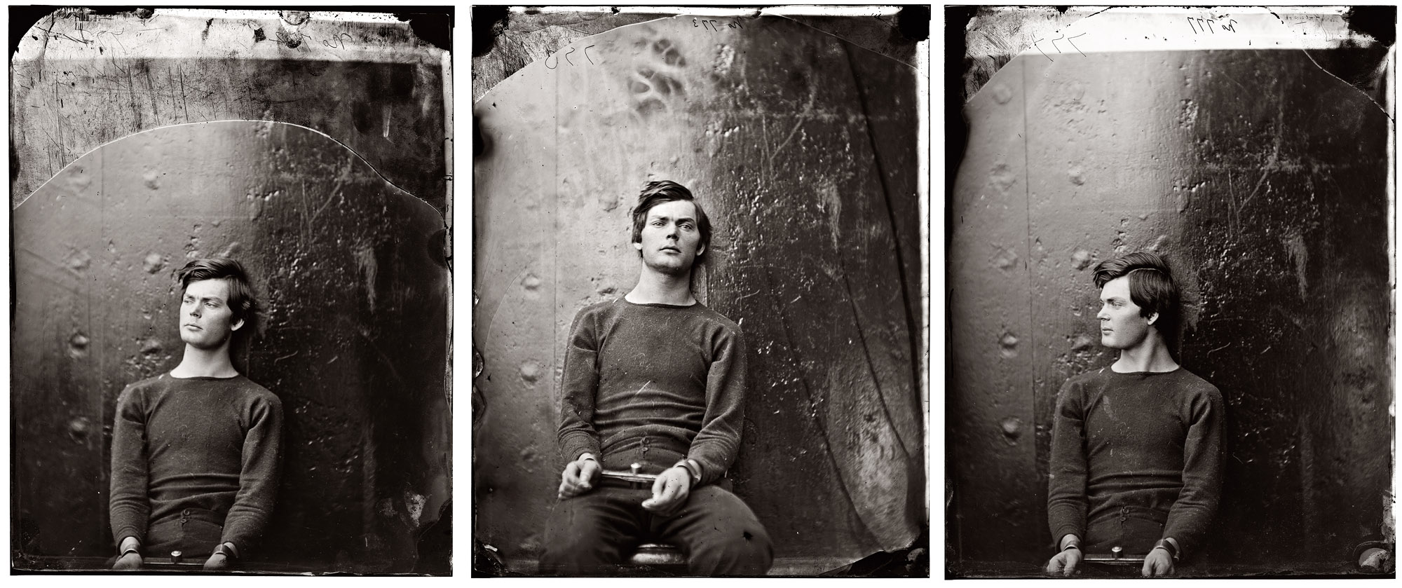 Lewis Powell in rigid metal wrist restraints