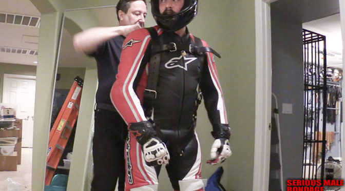 Lukas Tyler gets suspended in full bike leathers