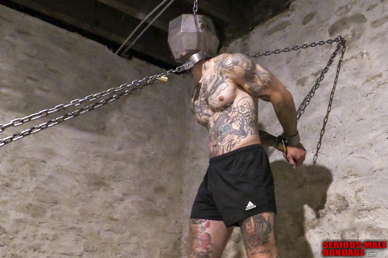 Jimmy USMC in heavy metal bondage male BDSM