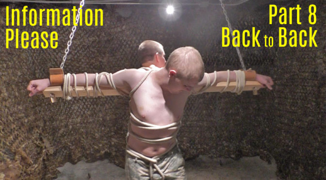 Two prisoners are tied back to back