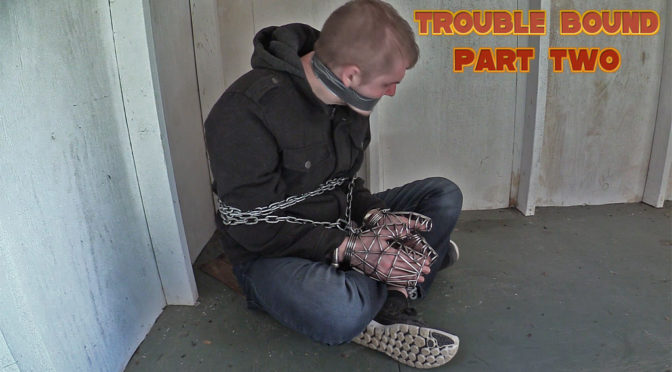 Chained and tape-gagged in sneakers