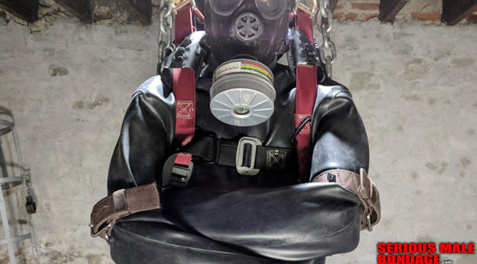Restrained in a safety harness