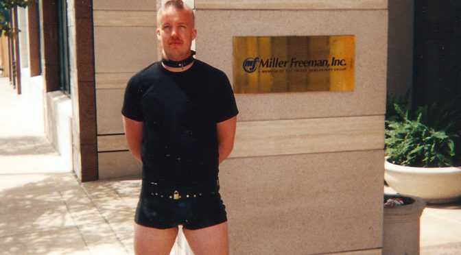 Wearing chastity shorts in downtown San Francisco