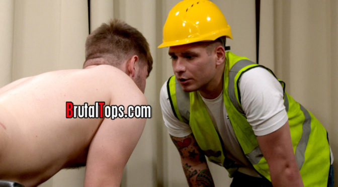 Male BDSM fantasy: Tied up and dominated by a brutal construction worker