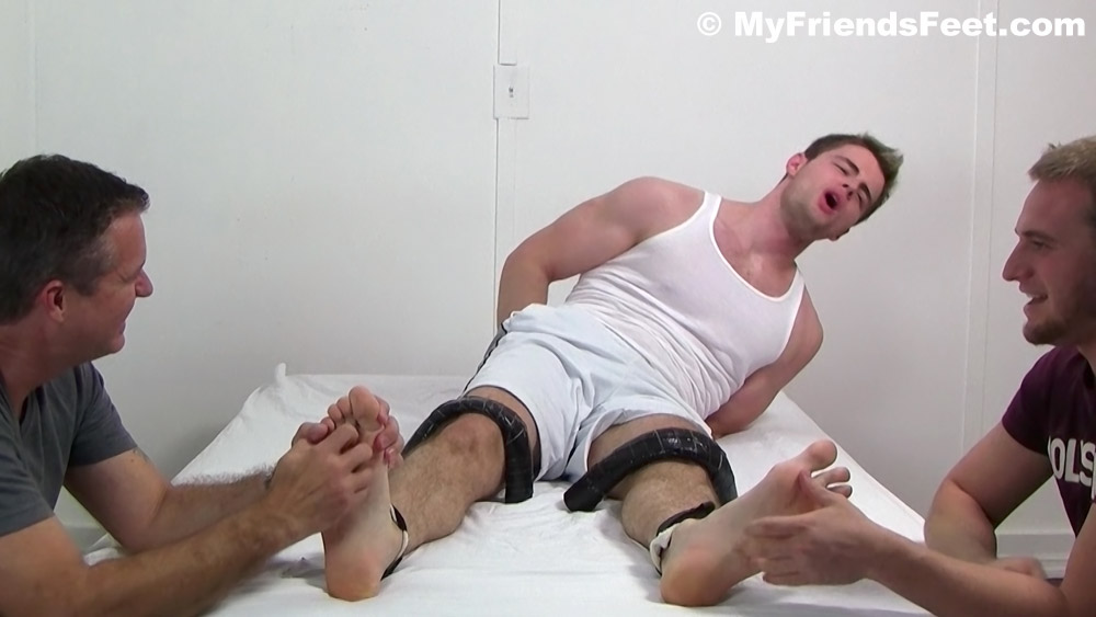 Two guys gang up on Leon and tickle him